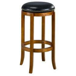 Jackson Bicast Leather Swivel Dark Oak Bar Stool