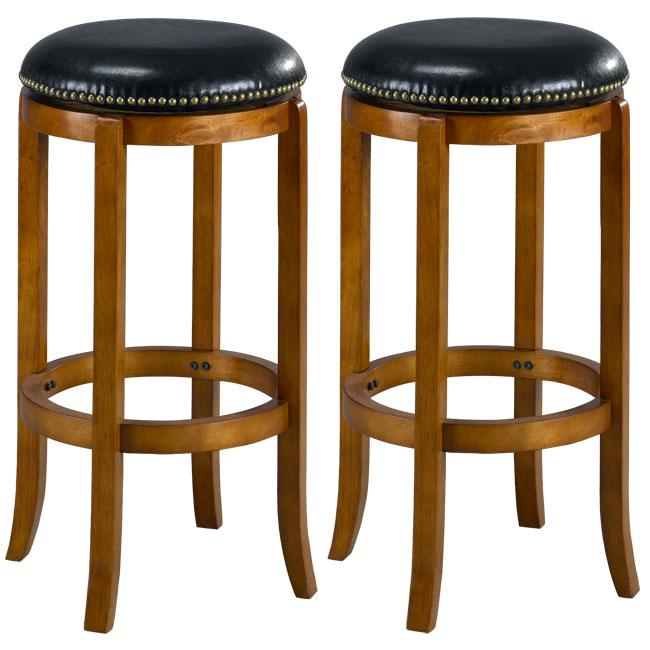 Jackson Bicast Leather Dark Oak Swivel Bar Stools Set Of 2