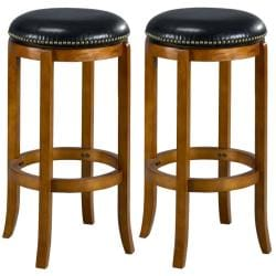 Jackson Bicast Leather Dark Oak Swivel Bar Stools (Set of 2)