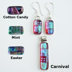 Dichroic Glass and Silver Pendant and Earrings Jewelry Set (Mexico)