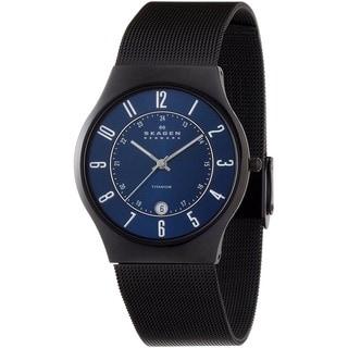 Skagen Men's Slim Black Titanium Sunray Blue Dial Watch
