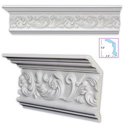 Scrolling Leaf 6.375-inch Crown Molding (8 pack)