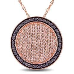 Miadora 14k Pink Gold 1ct TDW Brown and Black Diamond Pave Circle Necklace