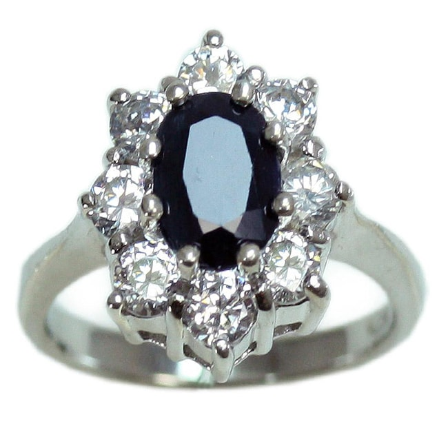 Sterling Silver Sapphire and Cubic Zirconia Diana Ring