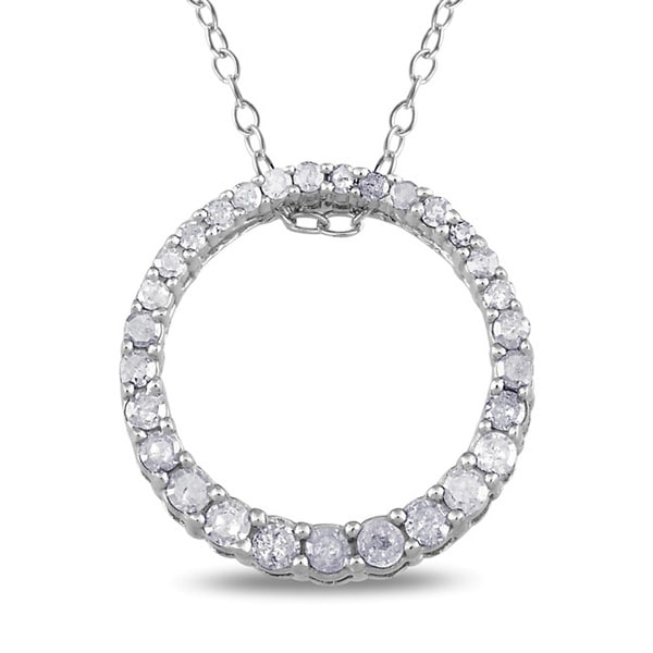 Haylee Jewels Sterling Silver 1/3ct TDW Diamond Circle Necklace (H-I, I3)
