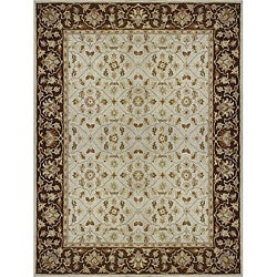 Hand-tufted Aara Ivory/ Brown Wool Rug (5' x 7'6)