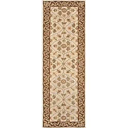 Hand-tufted Aara Ivory/ Brown Wool Rug (2'3 x 8')