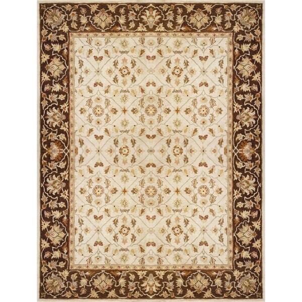 Hand-tufted Aara Ivory/ Brown Wool Rug (7'10 x 11')