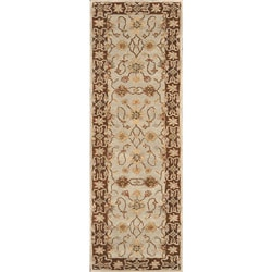 Hand-tufted Aara Blue/ Brown Wool Rug (2'3 x 8')