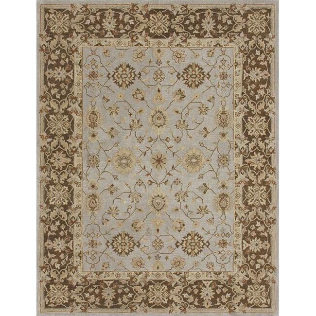 Hand-tufted Aara Blue/ Brown Wool Rug (7'10 x 11'0)