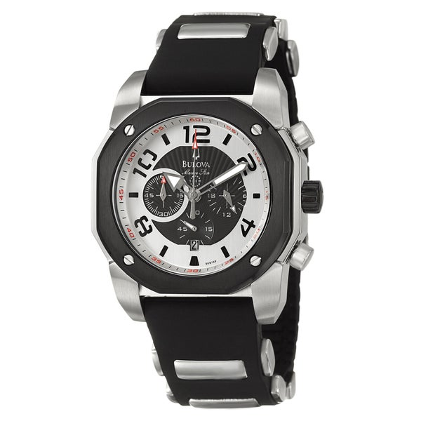 Bulova Men's 98B139 'Marine Star' Chronograph Black Rubber Strap Watch