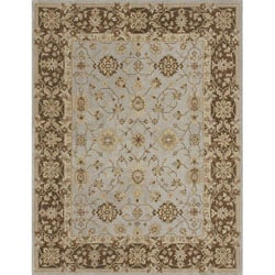 Hand-tufted Aara Blue/ Brown Wool Rug (5' x 7'6)