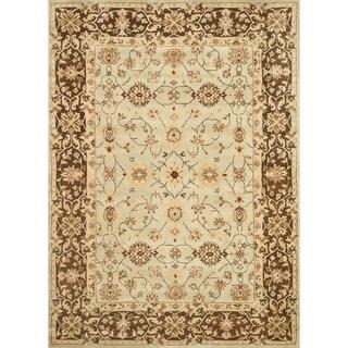 Hand-tufted Aara Blue/ Brown Wool Rug (5' x 7'6)