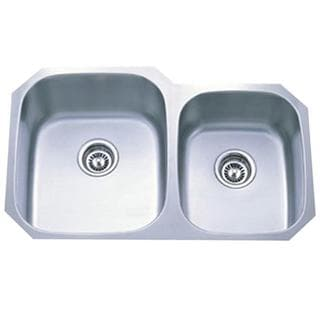 Stainless Steel 16-gauge 31-inch Undermount Double Bowl Kitchen Sink