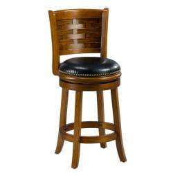 Brooklyn Dark Oak Woven Back Swivel Counter Stool