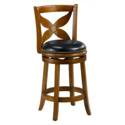 Livingston Dark Oak Floral Back Swivel Counter Stool