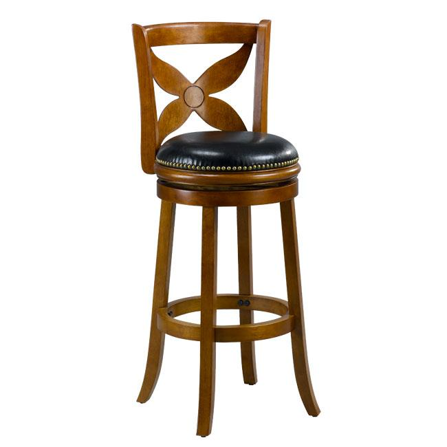 Livingston Dark Oak Floral Back Swivel Bar Stool