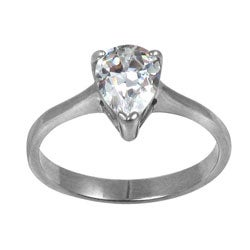 Stainless Steel Pear-cut Cubic Zirconia Solitaire Engagement-style Ring