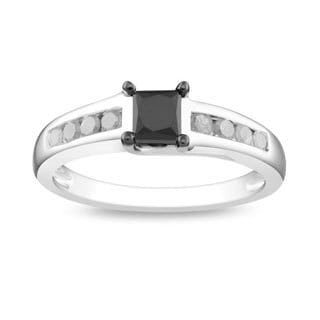 10k White Gold 1ct TDW Black and White Diamond Ring (G-H, I3)