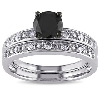 Miadora 10k White Gold 1ct TDW Black and White Diamond Ring Set (G-H, I3) with Bonus Earrings