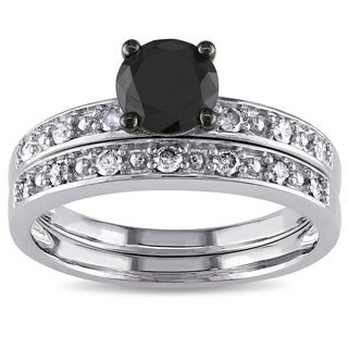 Miadora 10k White Gold 1ct TDW Black and White Diamond Ring Set (G-H, I3)