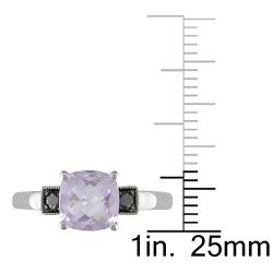 Miadora 10k White Gold Cushion-cut Rose de France and 1/10ct TDW Black Diamond Ring
