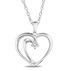 M by Miadora Sterling Silver Diamond Accent Heart Necklace