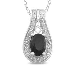 Miadora Sterling Silver 1ct TGW Black Sapphire and Diamond Pendant (H-I, I3)