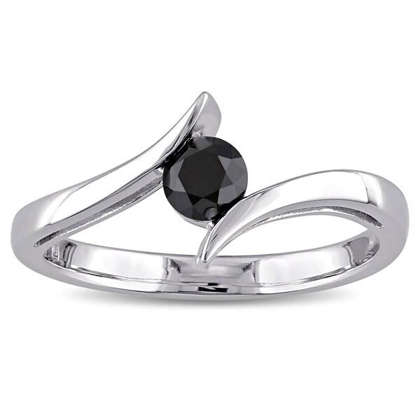 Miadora 10k White Gold 1/2ct TDW Black Diamond Ring