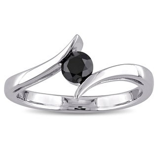 Miadora 10k White Gold 1/2ct TDW Black Diamond Ring