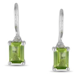 Miadora Sterling Silver Peridot and Diamond Earrings