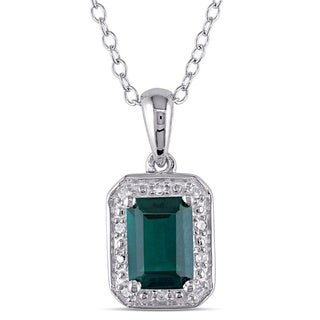 Miadora Sterling Silver Created Emerald and Diamond Accent Necklace