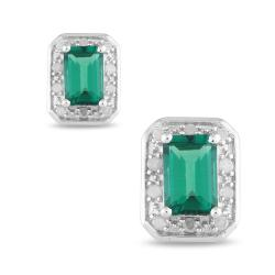 Miadora Sterling Silver Created Emerald and 1/10 Diamond Earrings (H-I, I3)