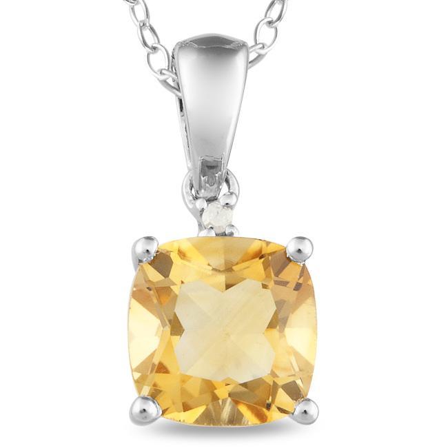 Miadora Sterling Silver Citrine and Diamond Accent Necklace