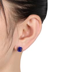 Miadora Sterling Silver Created Sapphire and Diamond-accented Earrings