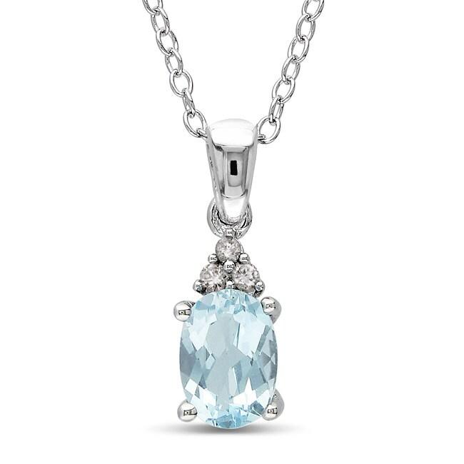 Miadora Sterling Silver Blue Topaz and Diamond Accent Necklace