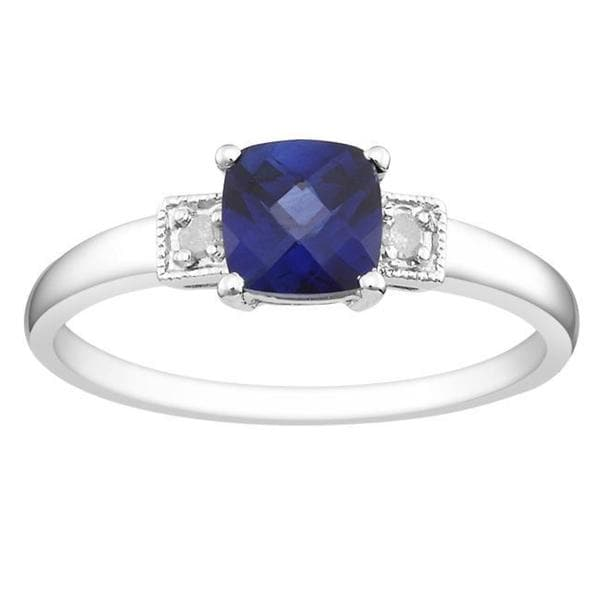 M by Miadora Sterling Silver Blue Created Sapphire and Diamond Ring