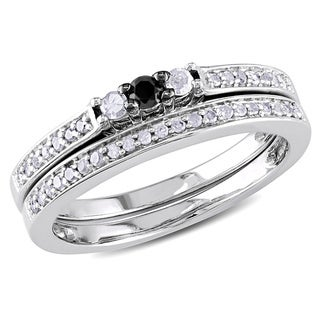 M by Miadora Sterling Silver 1/4ct TDW Black and White Diamond Ring Set (H-I, I3) with Bonus Earrings