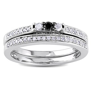 M by Miadora Sterling Silver 1/4ct TDW Black and White Diamond Ring Set (H-I, I3)