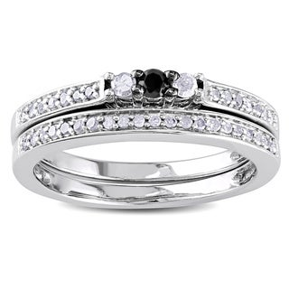 Miadora Sterling Silver 1/4ct TDW Black and White Diamond Ring Set (H-I, I3)