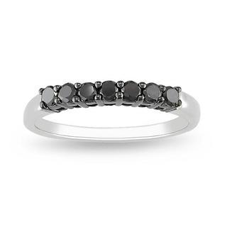 M by Miadora Sterling Silver 1/2ct TDW Black Diamond Ring with Bonus Earrings