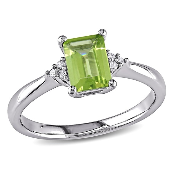 M by Miadora Sterling Silver Emerald-cut Peridot and Diamond-accented Ring