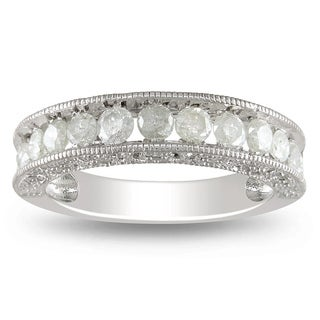 Miadora Sterling Silver 1ct TDW Diamond Wedding Band (H-I, I3)