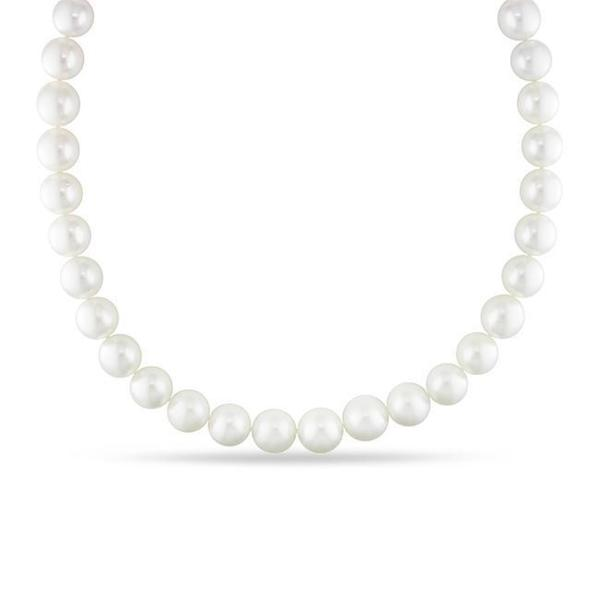 Miadora Signature Collection White South Sea Pearl and Diamond 18-inch Necklace (12.5-15 mm)