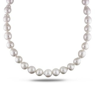 Miadora Signature Collection White South Sea Pearl and Diamond 18-inch Necklace (12-14 mm)