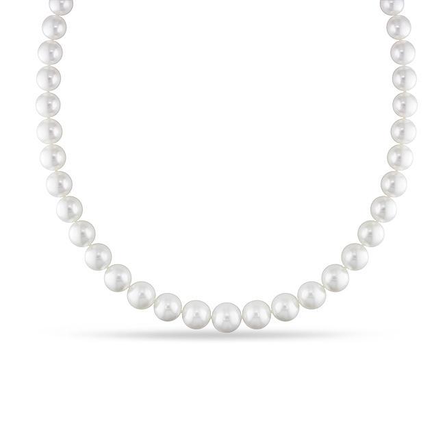 Miadora White South Sea Pearl and Diamond 18-inch Necklace (10-13 mm)