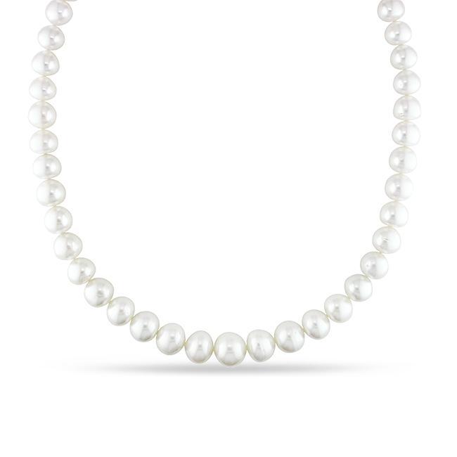 Miadora White South Sea Pearl and Diamond 18-inch Necklace (10-13.5 mm)
