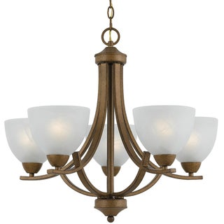 5-light Gold Finish Chandelier