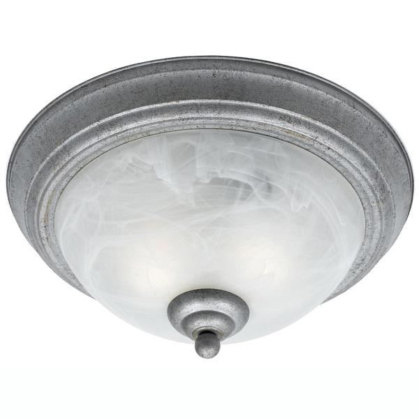 Silver 2-light Flush Fixture