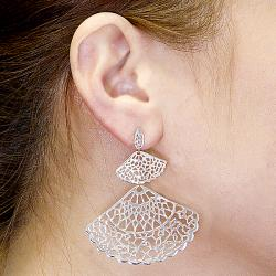 Adee Waiss Sterling Silver Graduated Fan Earrings
